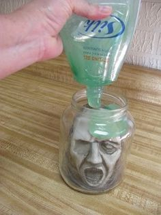 head in a jar pasta sauce or similar jar cheap hair gel fake - Cheap Halloween Decorating Ideas