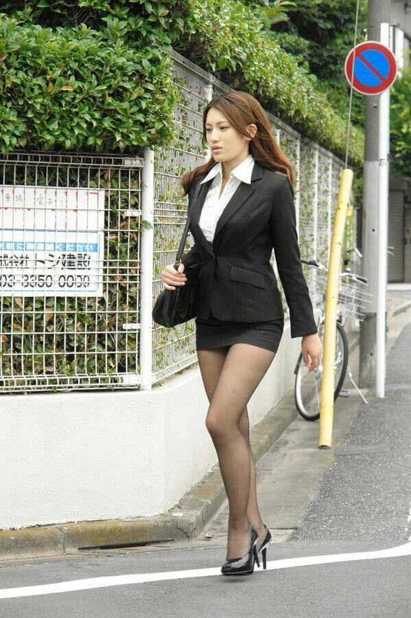 Sexy asian in mini skirt
