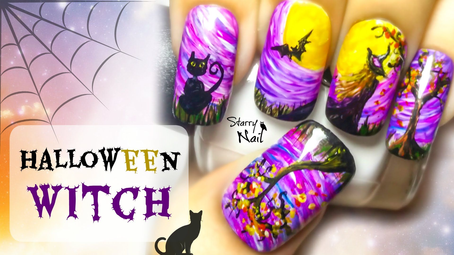 Halloween Witch Freehand Nail Art Tutorial | Halloween ...