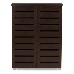 Baxton Studio Adalwin Dark Brown Tall Storage Cabinet 28862-6516-HD - The Home Depot#288626516hd #adalwin #baxton #brown #cabinet #dark #depot #home #storage #studio #tall