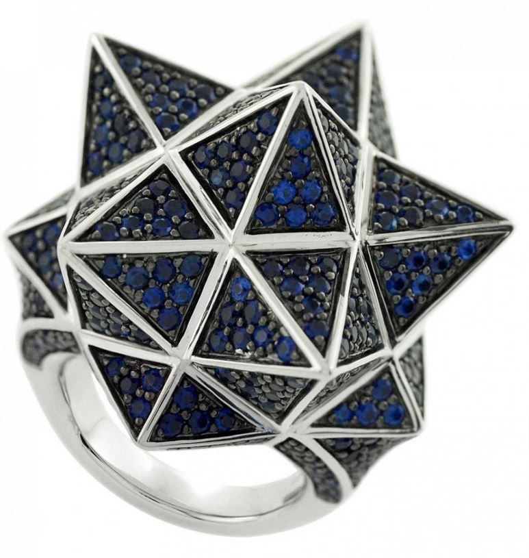 """Tetra Full Pave Sapphire Ring"" Verahedra series statement ring in sterling silver with 352 1.0 - 1.5 mm pavé round blue sapphires.    http://johnbrevard.com/tetra-full-pave-ring-562"