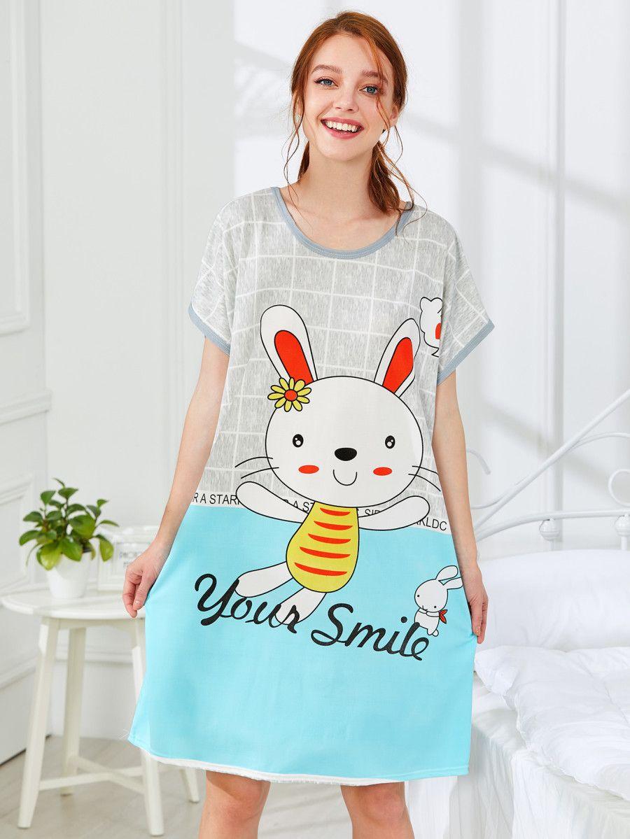 Rabbit Print Nightdress Shein Sheinside In 2021 Night Dress Pajamas Women Fashion [ 1199 x 900 Pixel ]