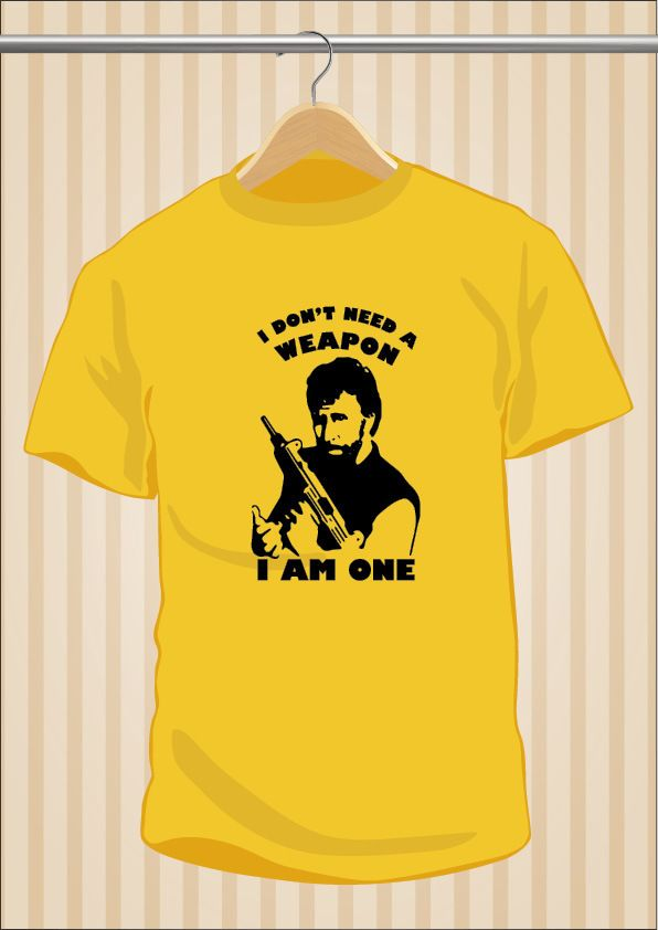 "Camiseta Chuck Norris ""I Don't Need a Weapon, I Am One"" #TShirt #Tee #Art #Design con envío #gratis sólo en www.UppStudio.com"