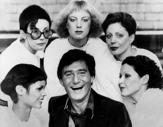 Vidal, in London, surrounded by models showing his new cuts for 1976 called,  clockwise from lower left: The Hummingbird, Question Mark, Feathers, Tomboy and Silver Lady