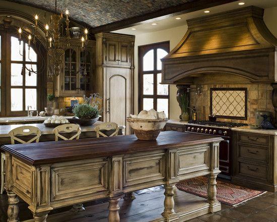 Island Overall Look Old World Kitchens Mediterranean Kitchen Design Decor