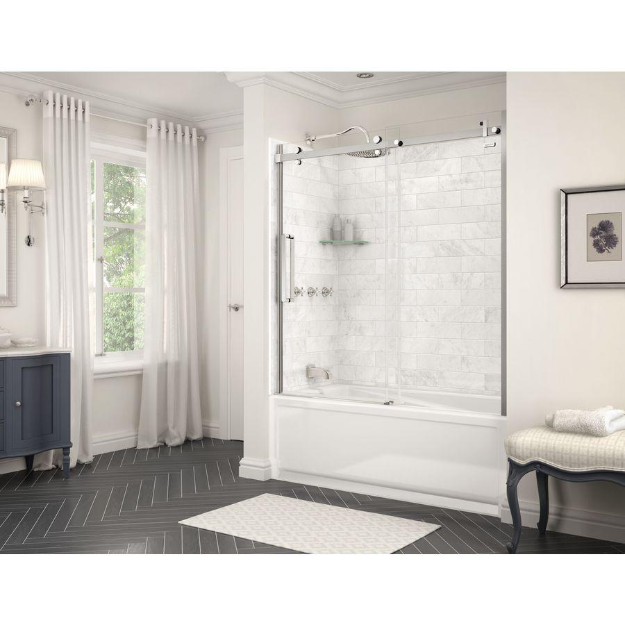 MAAX marble carrara fiberglass/plastic composite bathtub wall ...