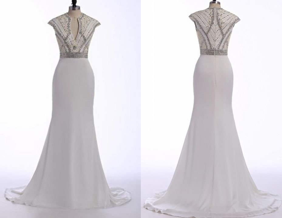 White Prom Dresses Long Trumpet Mermaid Beading Sweep Train Fishtail Dress
