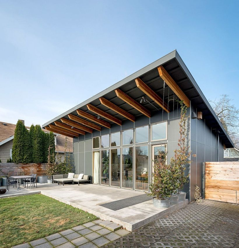 Modern Home Designs : Splendid Prefabricated Home With Shed Roof Using  Passive Solar House System Passive