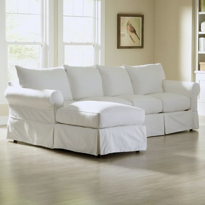 Birch Lane Jameson Slipcovered Sofa With Chaise Upholstery Denton Beige Orientation Left Hand Facing Sectional Sofa With Chaise