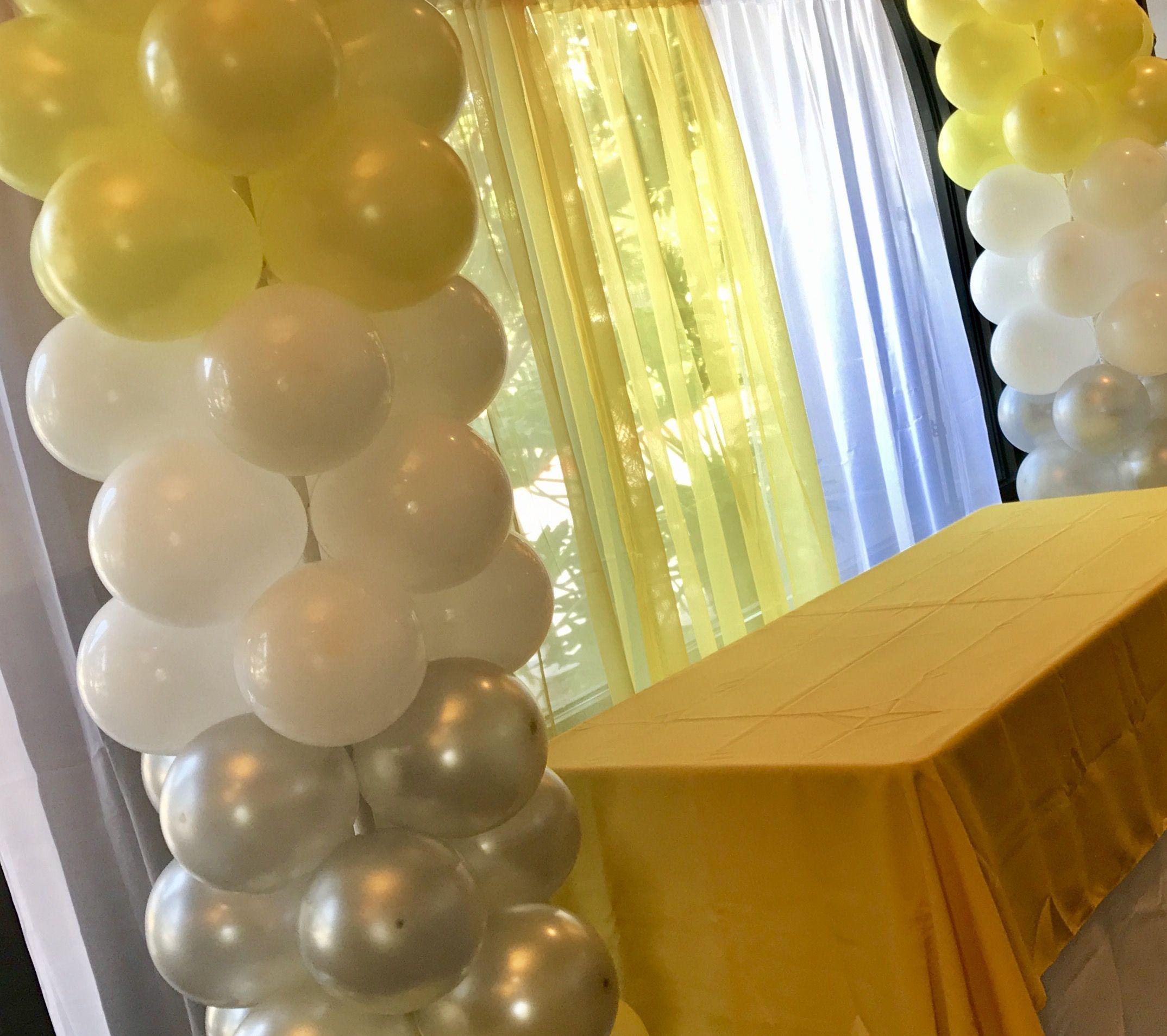 Yellow White And Silver Balloon Pillars Yellow Party Decorations Yellow Party Decorations Yellow Party Silver Party Decorations