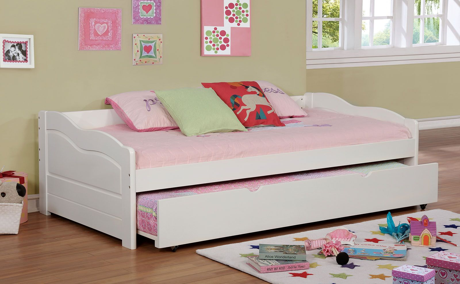 Sunset Collection 1737WH White Wooden Twin Daybed with