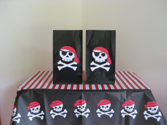10 Pirate Favor Bags Birthday Party
