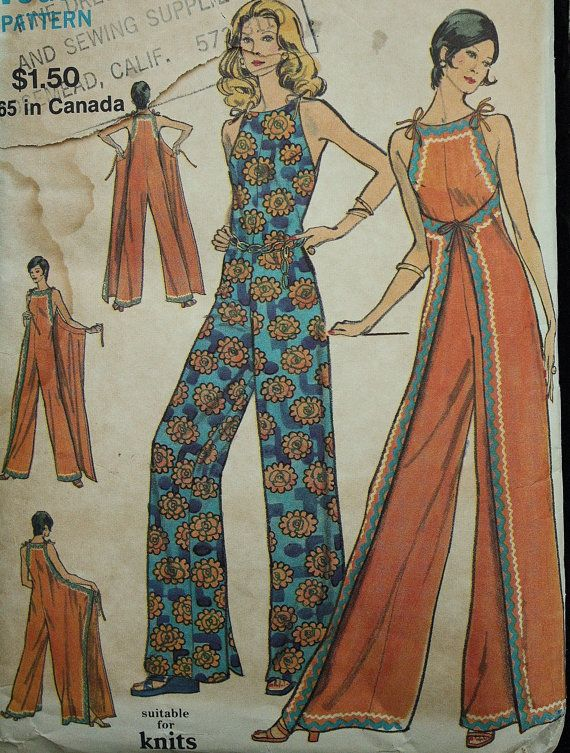 RARE Very Easy Vogue 8335 1970s 70s Wrap Front Jumpsuit Jumper ...
