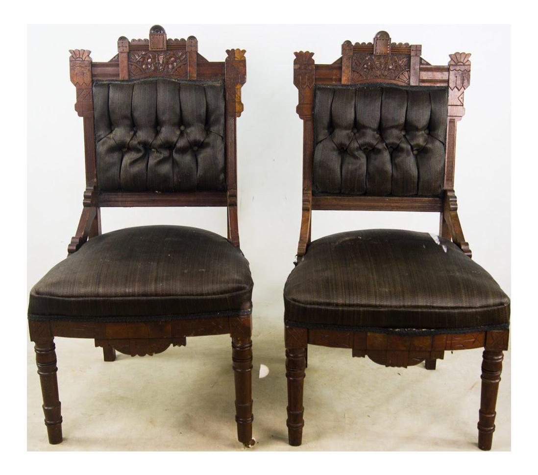 Best Antique Victorian Eastlake Black Slipper Chairs A Pair 400 x 300