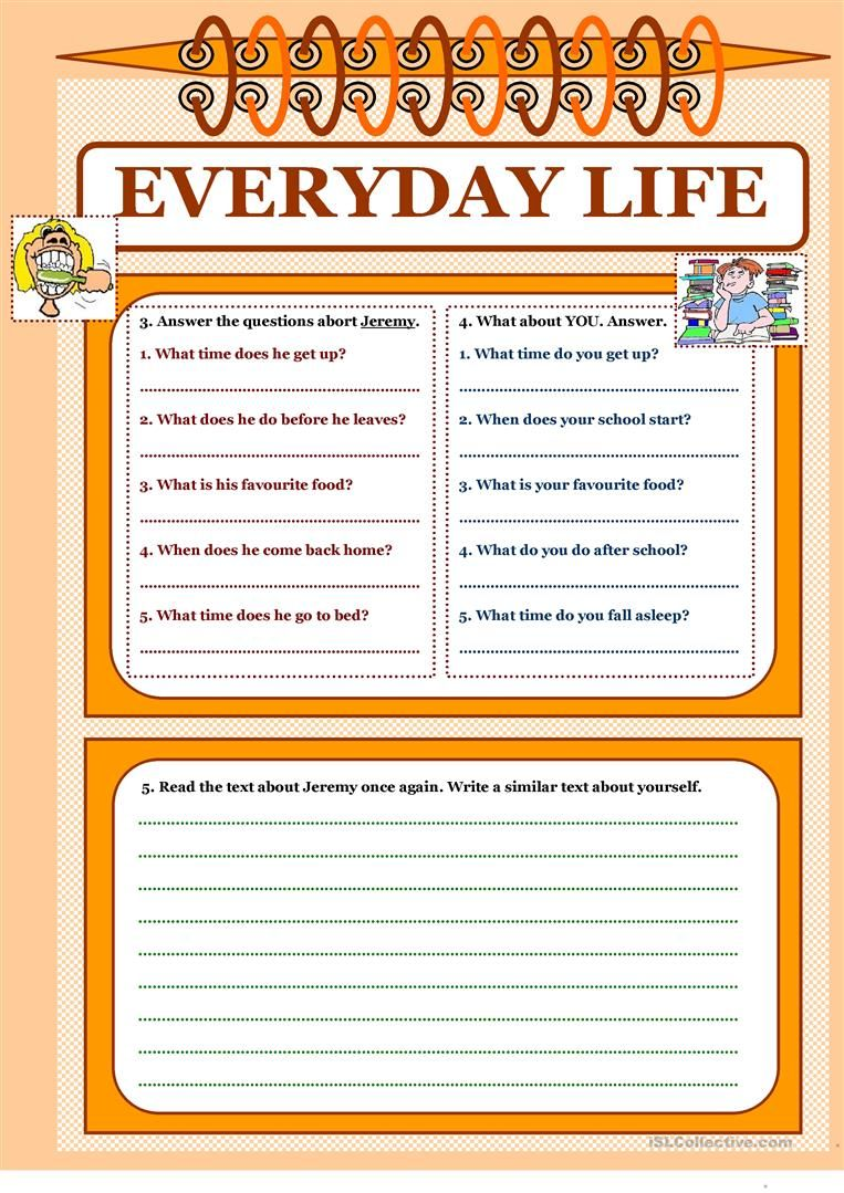 Let S Read And Write About 1 Everyday Life Worksheet Free Esl Printable Worksheets Made By Teachers Reading Writing Freewriting Writing [ 1079 x 763 Pixel ]