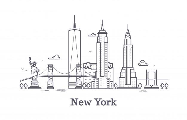 Horizonte De Contorno De La Ciudad De Nueva York Silueta De Linea De Nueva York Turismo De Estados Un Ilustracion Viajes Ciudad Silueta Tatuaje De Nueva York