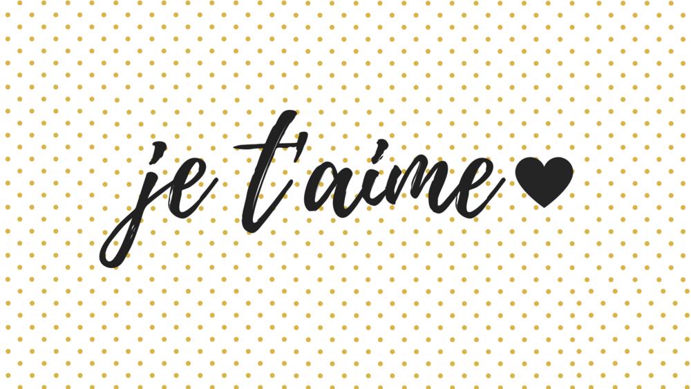 Je Taime Gold Polka Dots Black Script Font And Heart Desktop Wallpaper