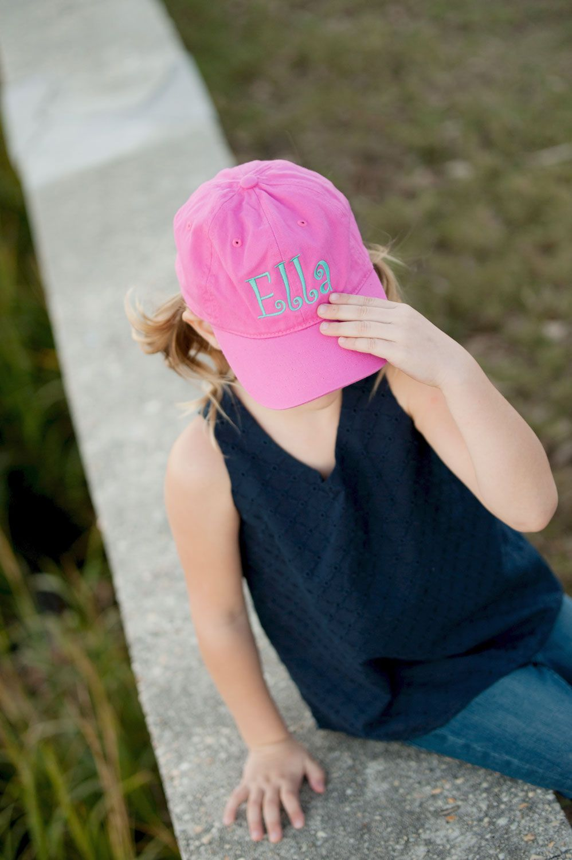 7674dcf091c Girls Baseball Hat Pink Monogrammed