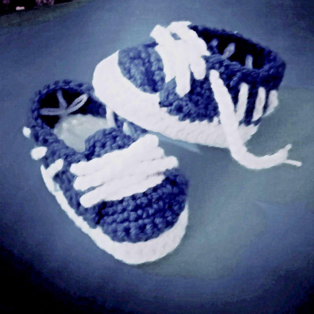 Scarpine Blu Neonato Uncinetto Sneakers Tipo Adidas Scarpine