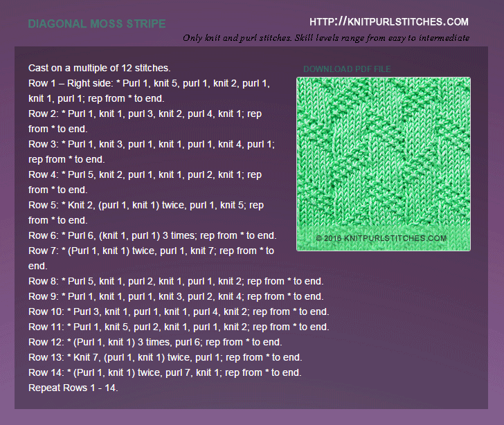 Only Knit and Purl Stitches - Written instructions for Diagonal-moss-stripe stitch