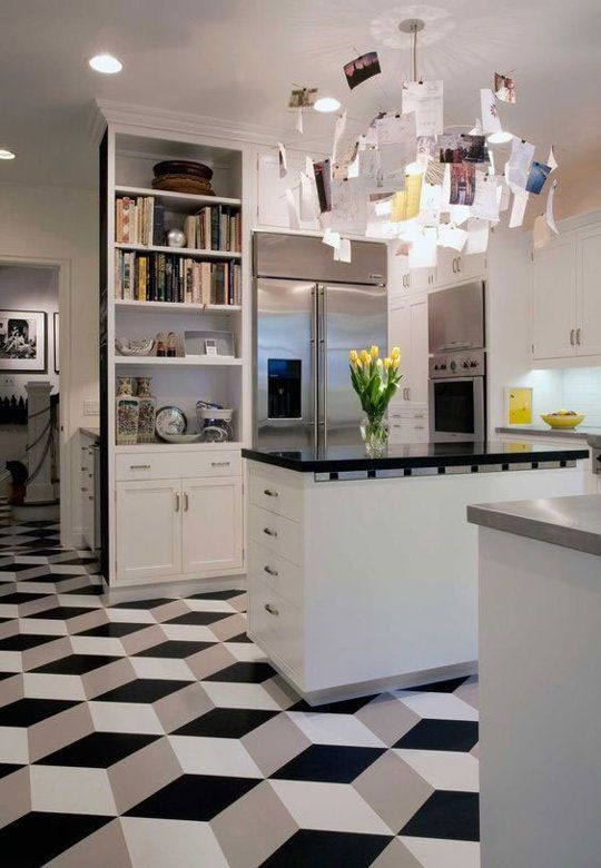 linoleum kitchen flooring organizing ideas take another look vinyl tiles can actually good escher effect be beautiful really