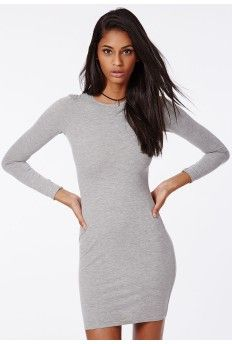 Rainey Long Sleeve Bodycon Dress Grey