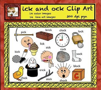 Short Vowel Clip art Set - ick and ock Word Families - Rhyming ...