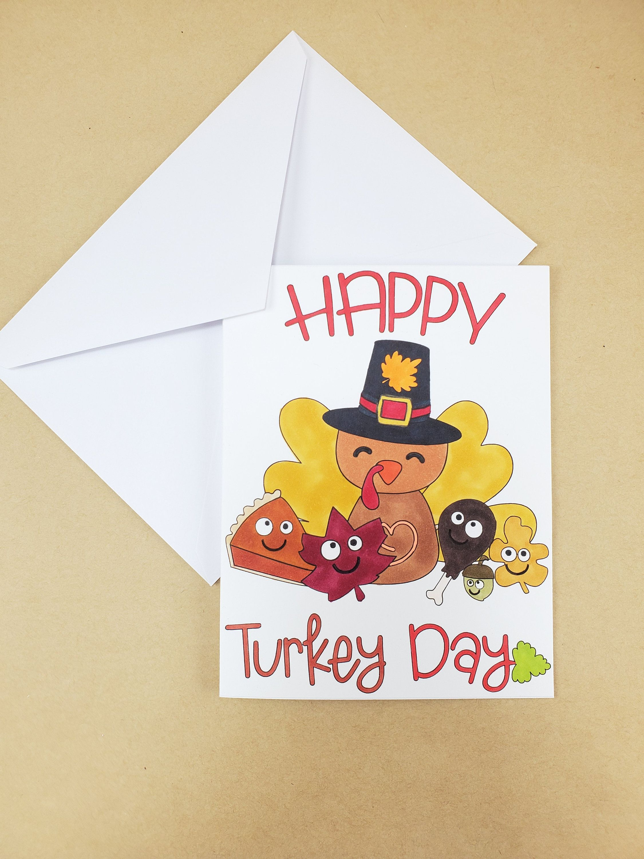 Turkey Day - Cute Thanksgiving Card - Turkey Day Gift ...