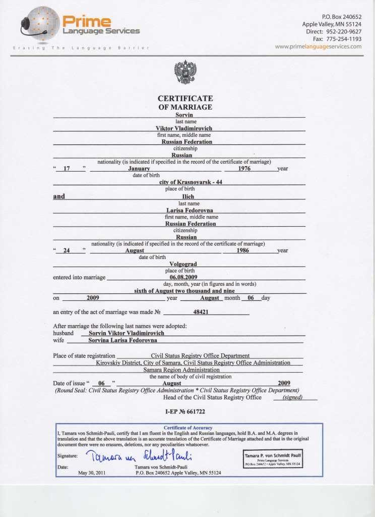 Marriage Certificate Translation From Spanish To English Template