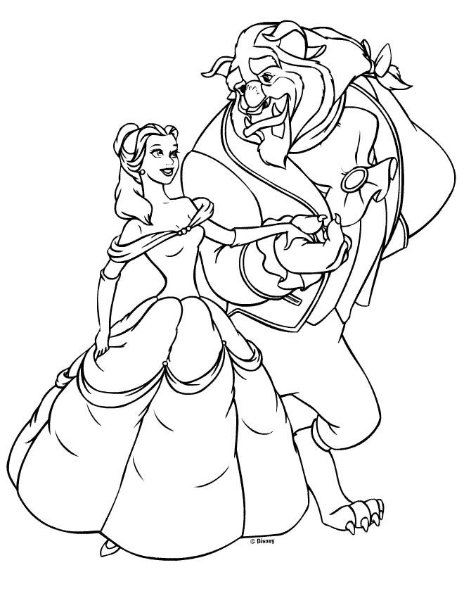 Belle Easy Disney Princess Coloring Pages