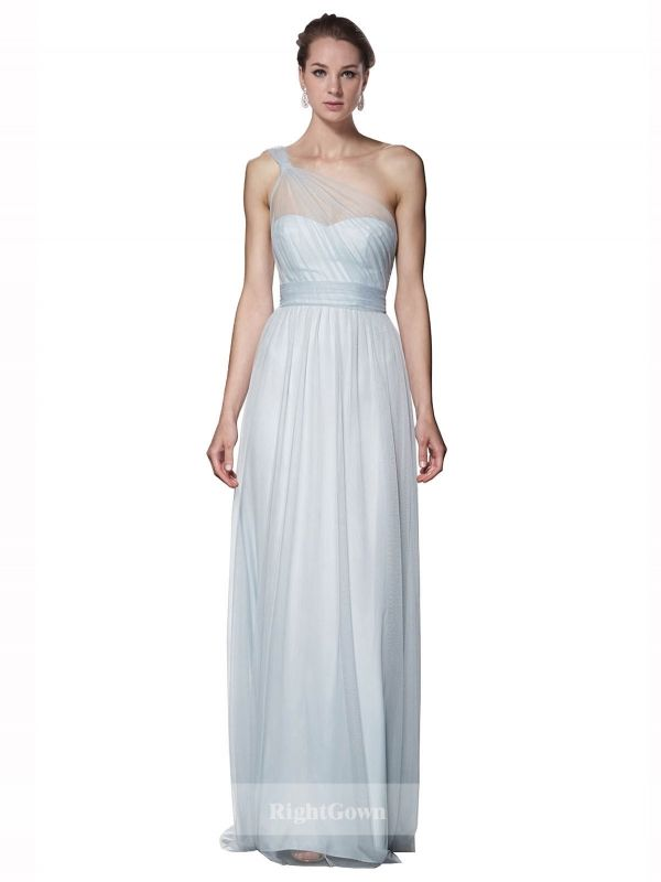 Cheap One Shoulder Long Tulle Blue Sleeveless