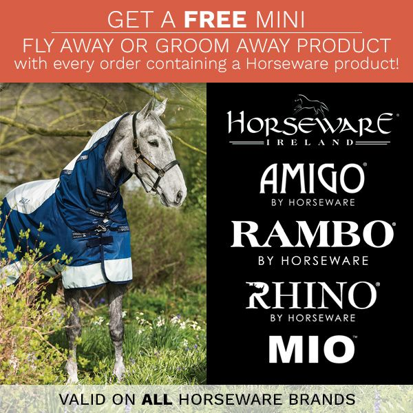 Get a free mini Fly Away or Groom Away product with every order containing Horseware!