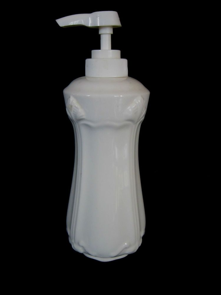 White Ceramic Soap Lotion Dispenser Decorated W Embossed Art Deco Design Rosie 17 99