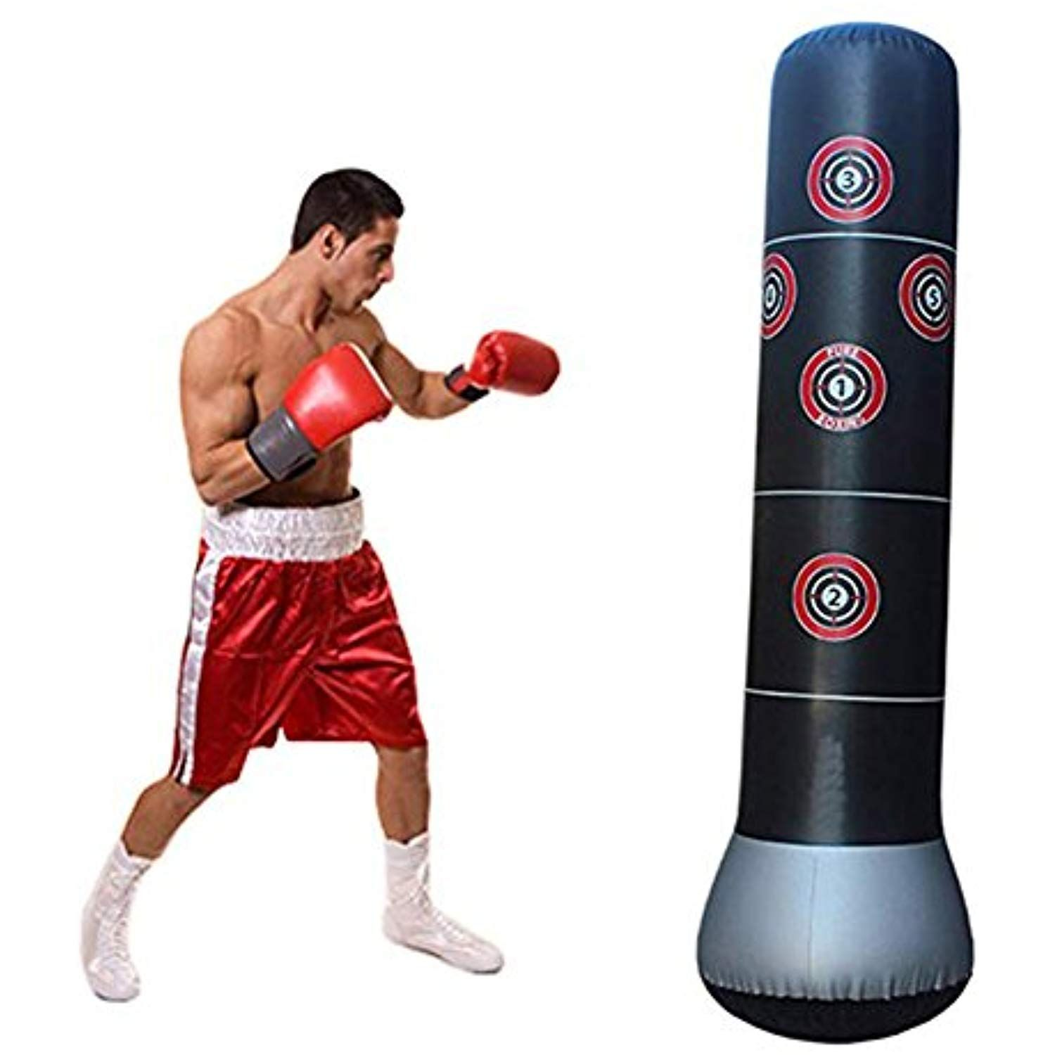Black PU Leather Speed Ball Boxing Punch Bag Training Speed Bag Sport UK Ship