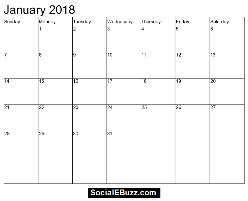January 2018 Calendar Printable Template, January Calendar 2018 ...