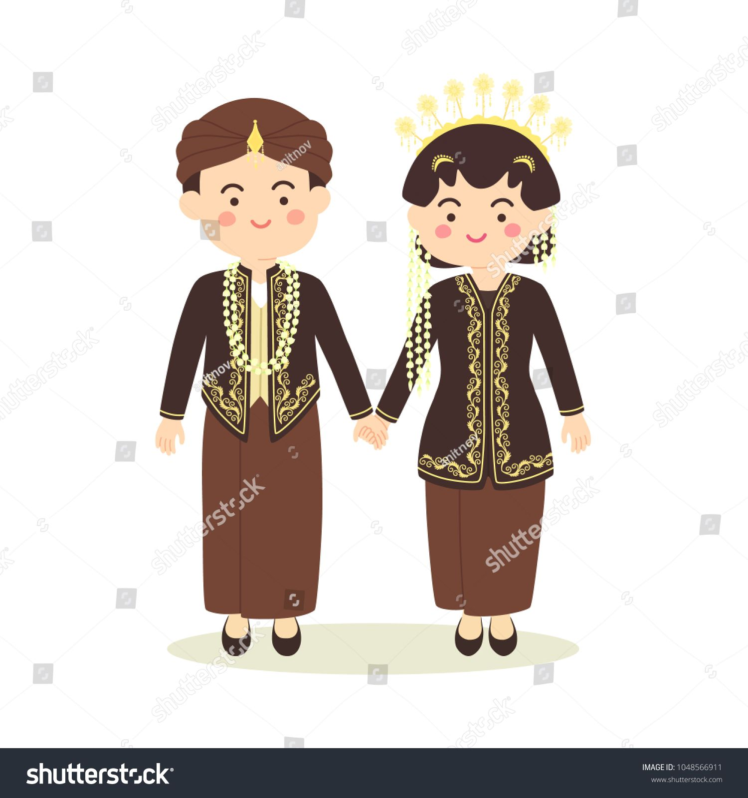 Central java indonesia wedding couple cute indonesian black javanese traditional clothes costume bride and groom cartoon vector illustration