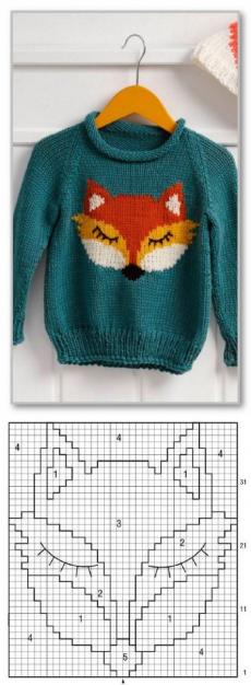 Вязание спицами для детей. Пуловер-реглан с жаккардовой лисичкой, для мальчика 4 (5, 6) лет