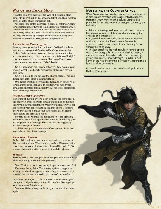 Monk: Way of the Empty Mind   rpg in 2019   Dnd 5e homebrew