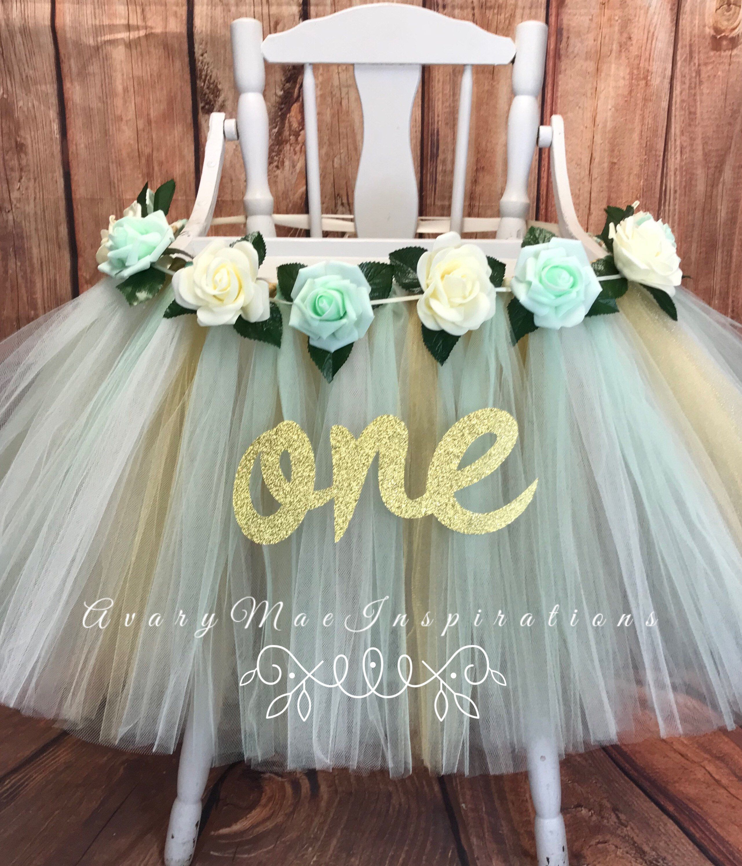 Mint And Gold Floral First Birthday High Chair Tutu Highchair Tutu High Chair Banner High Chair Skirt Girl First Birthday High Chair Tutu High Chair Banner