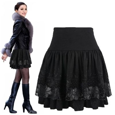 2014 Women Winter Crochet Lace Skirt Mini Saia Plus Size Clothes For Fat Women Slim Hip High Waist Pleated Ball Gowns 3Xl Xxxl-in Skirts from Women's Clothing & Accessories on Aliexpress.com | Alibaba Group