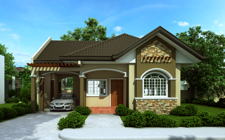Single Story House Plan Floor Area 90 Square Meters One Storey House Bungalow House Design House Design Pictures