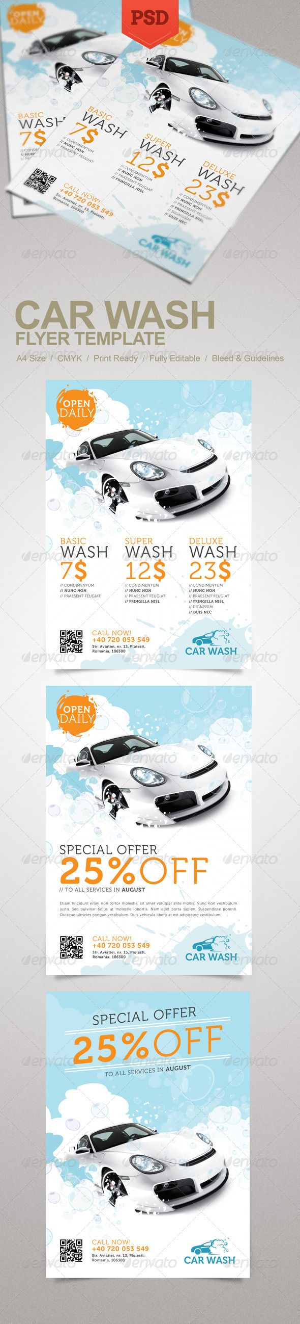 Car Wash Flyer #GraphicRiver Promote your business with a unique and creative flyer template package. Perfect for a wide range of car wash related businesses like: Car Wash Auto Detailing Services or Car Wash Equipment. Simple to work with and highly customizable, it ca be easily adjusted to fit your needs. Features: A4 Size CMYK 300 dpi Print Ready 3 design options Well named and organized layers Fully editable PSD templates Bleed and guidelines Font details in the Help file. Car image…