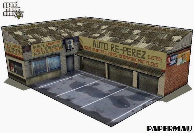 PAPERMAU: GTA V - Re-Perez Auto Service Paper Model - by