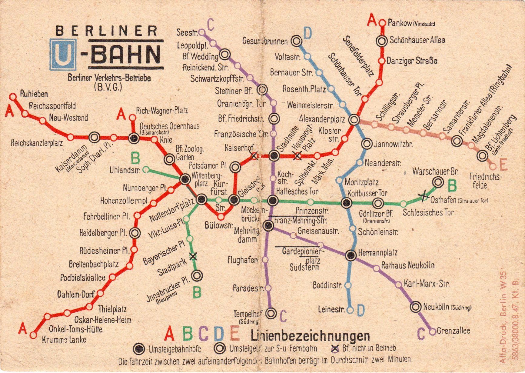 Streckennetz Der Berliner UBahn Old Berlin Pinterest - Germany underground map