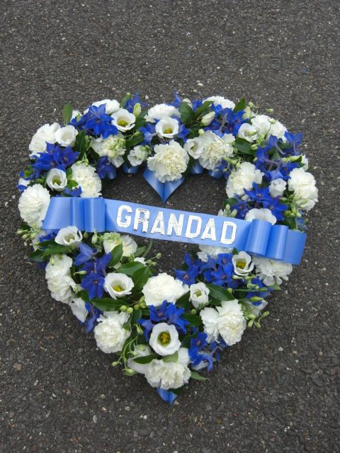Blue And White Heart With Silver Lettering Funeral Flower Arrangements Funeral Flowers Memorial Flowers