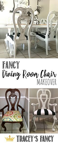 Info's : Glazed Dining Room Chairs Tracey's Fancy Chair Makeover | Black and White Upholstery Makeover