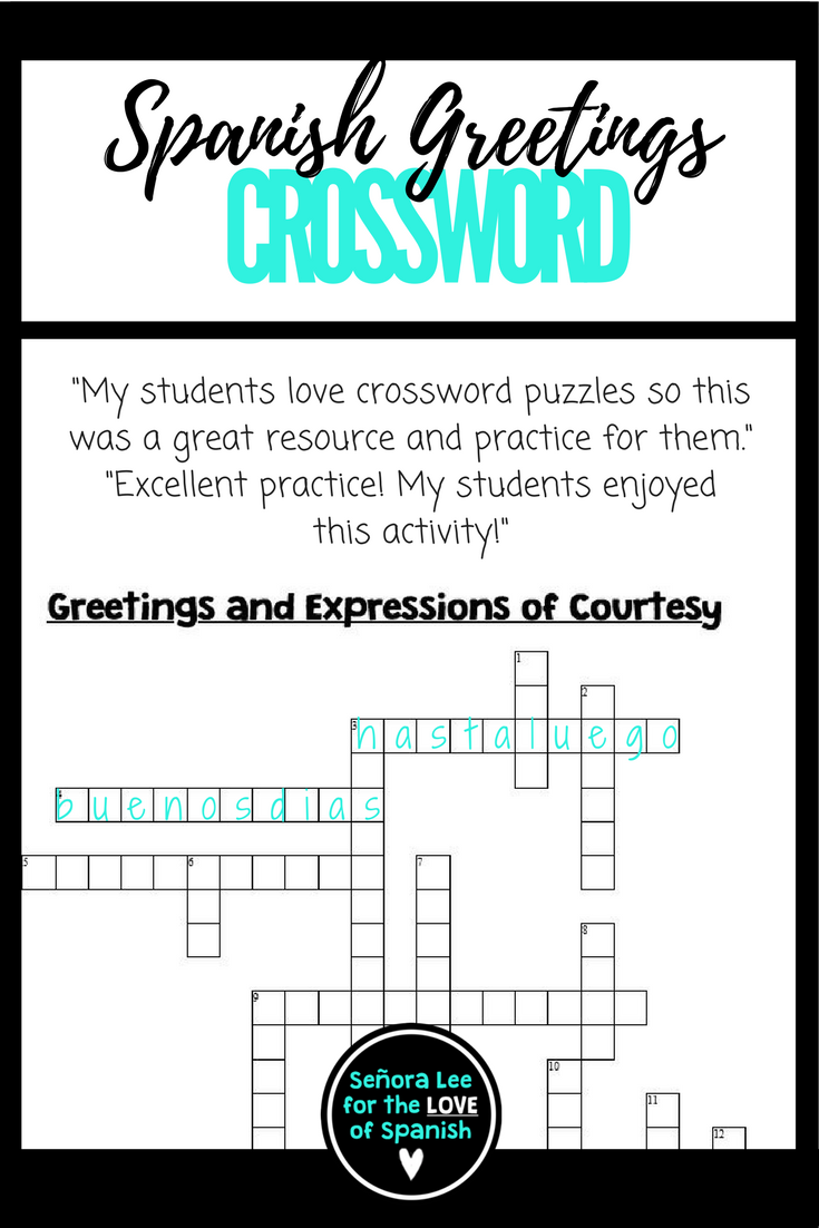 Spanish Greetings Farewells Expressions Of Courtesy Crossword