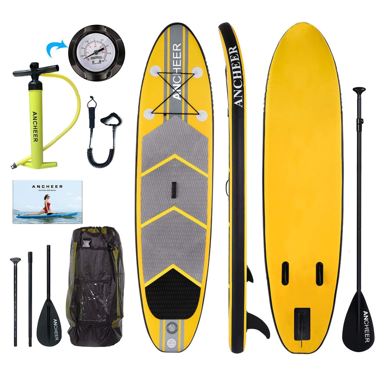 Ancheer Inflatable Stand Up Paddle Board 10 Non Slip Deck 6 Inches Thick Isup Boards Package W A Standup Paddle Sup Accessories Paddle Boarding