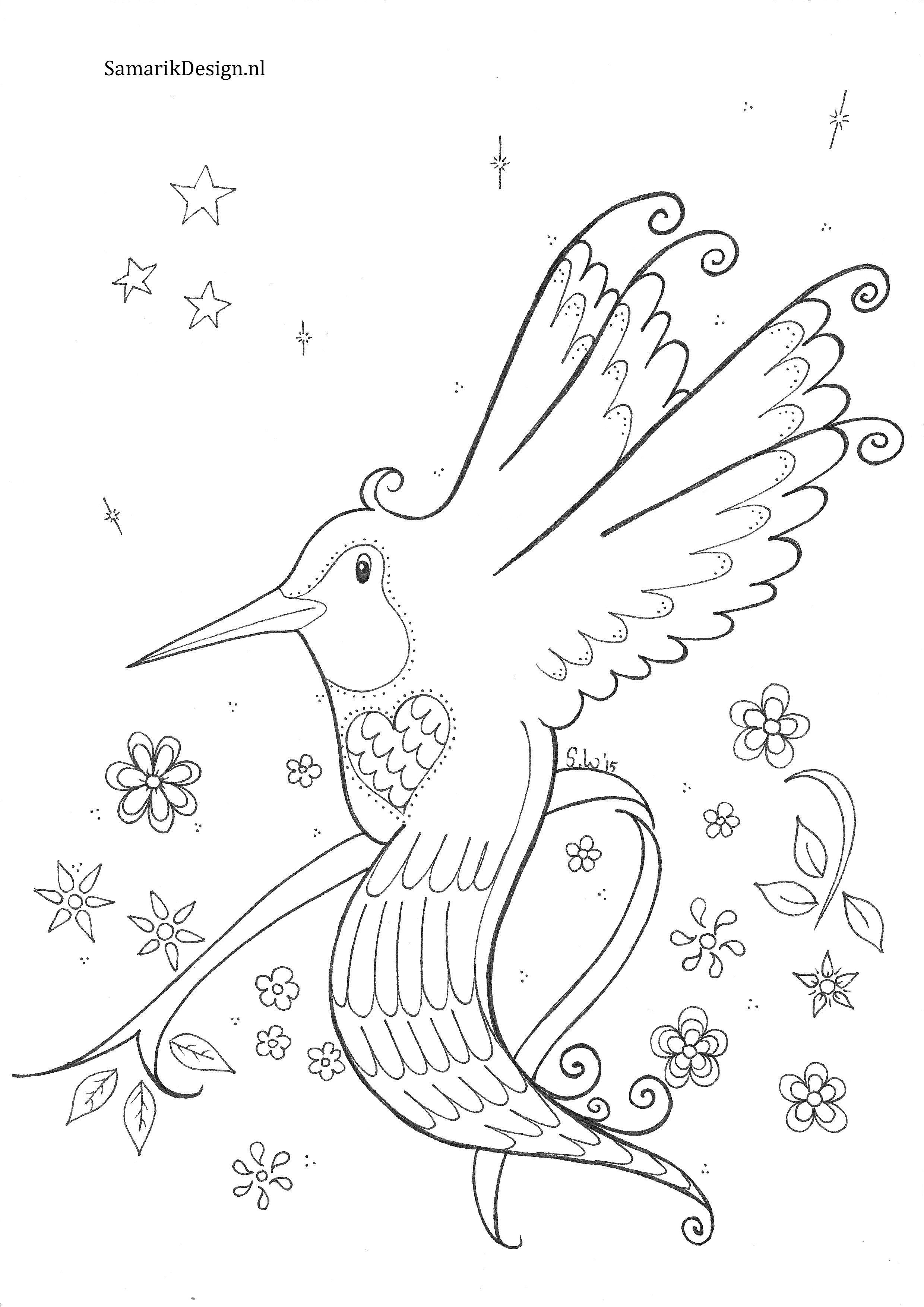 kleurplaat voor volwassenen kolibrie kleurplaten voor