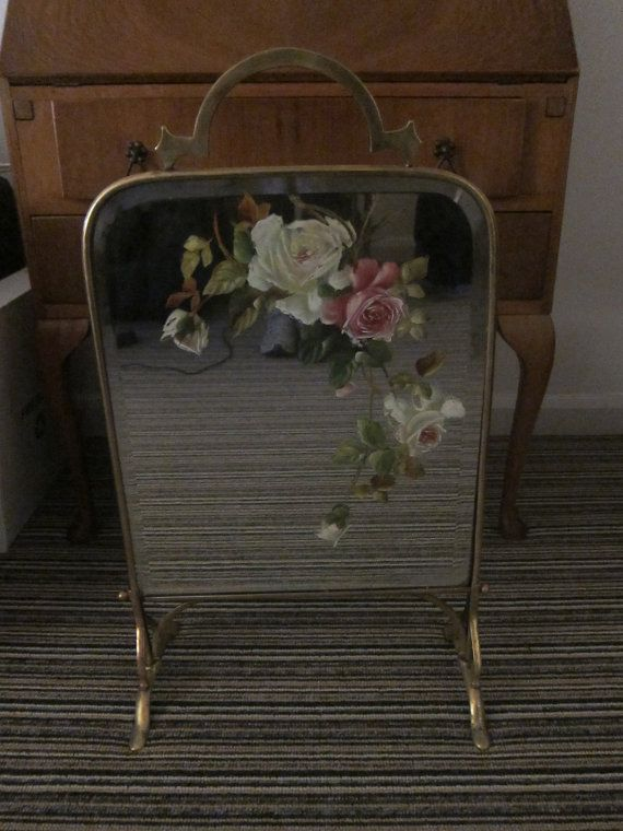 Lovely vintage brass floral painted mirror fireplace fire screen lovely vintage brass floral painted mirror fireplace fire screen guard art nouveau 1914 10277 usd teraionfo
